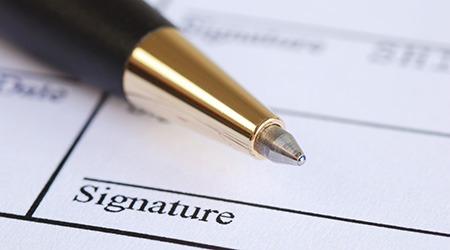 Signature de l'acte de vente immobilier