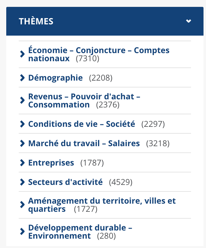 INSEE et différents thèmes accessibles