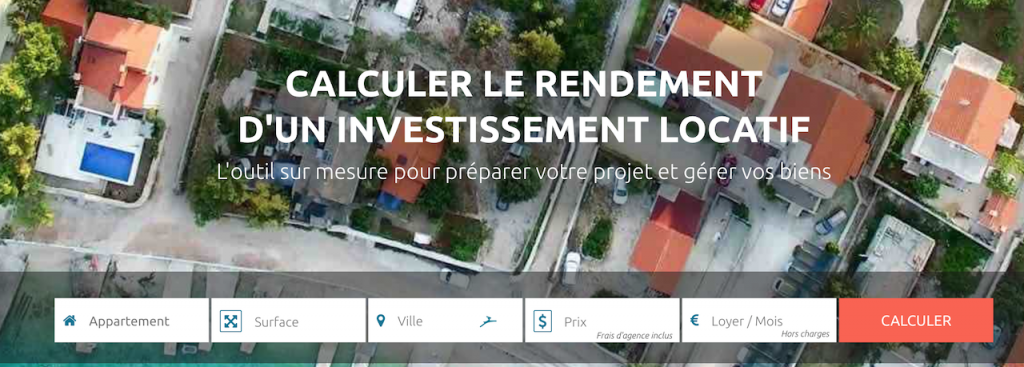 Interface du site rendement locatif