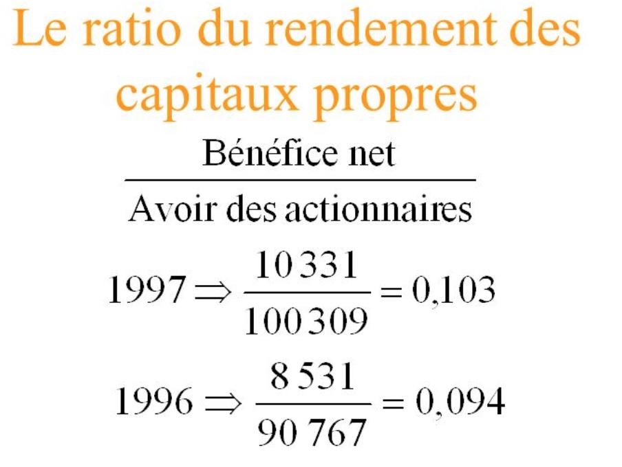 Ratio de rendement des capitaux propres