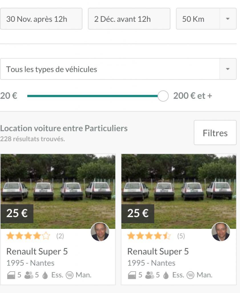 Renault Super 5 à 25€ le week-end